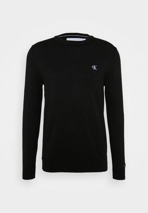 Calvin Klein Jeans MONOGRAM CHEST LOGO - Sweter - black/czarny Odzież Męska XJXY
