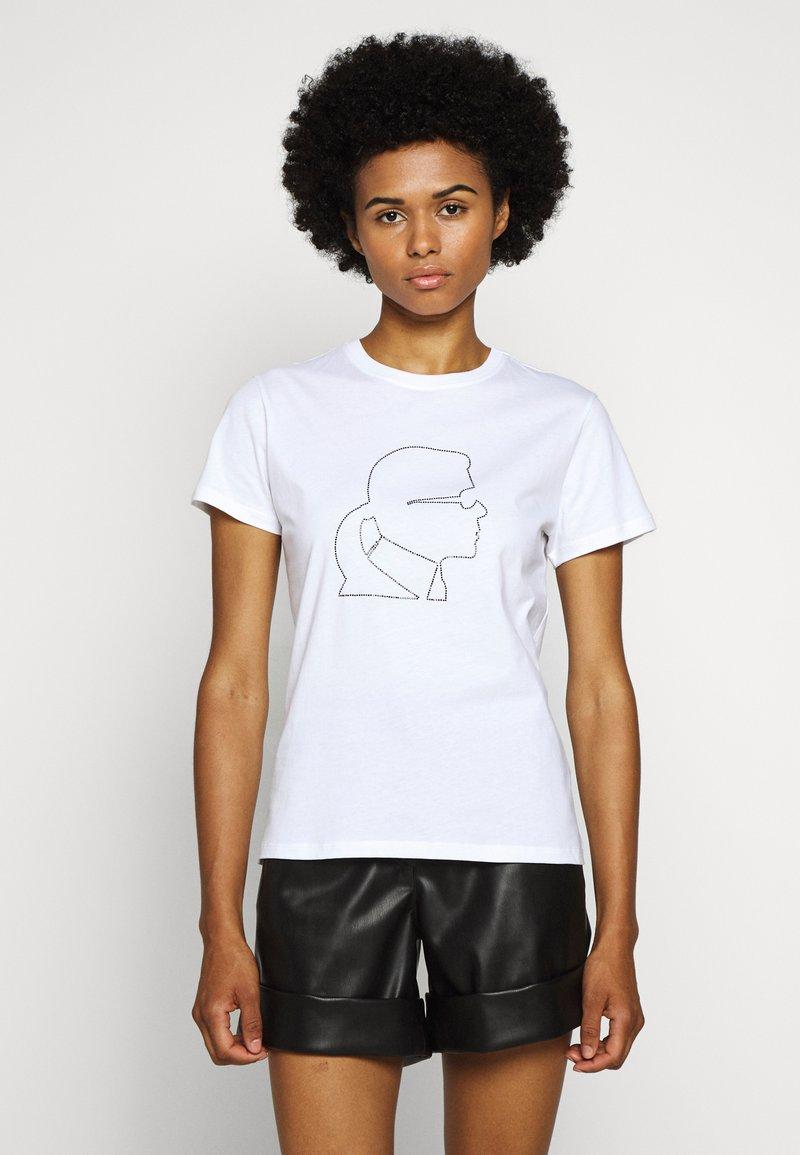 KARL LAGERFELD - PROFILE RHINESTONE TEE - Print T-shirt - white
