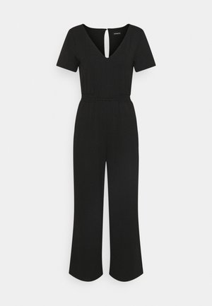 LOUNGE WIDE JUMPSUIT WITH RUSHING AT WAIST - Haalari - black