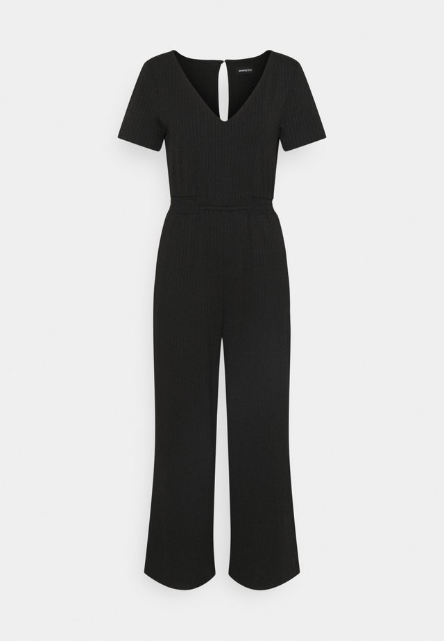 LOUNGE WIDE JUMPSUIT WITH RUSHING AT WAIST - Overall / Jumpsuit /Buksedragter - black