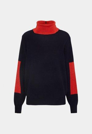 ELBOW PATCH HIGH NECK JUMPER - Stickad tröja - navy/bright red