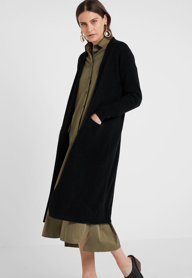 pure cashmere - LONG CARDIGAN - Vest - black