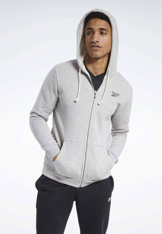 TRAINING ESSENTIALS FLEECE ZIP UP HOODIE - veste en sweat zippée - grey
