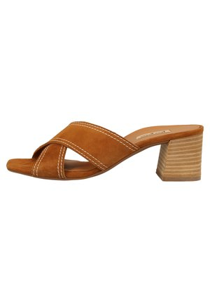 PAUL GREEN PANTOLETTEN - Heeled mules - caramel 6