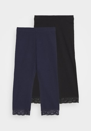 2 PACK Capri Leggings with Lace - Leggings - Trousers - dark blue/black