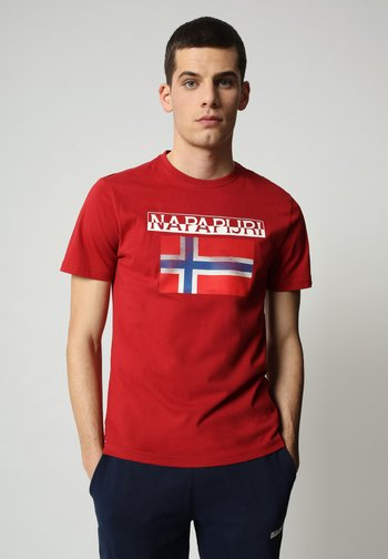 S-SURF FLAG - Print T-shirt - old red