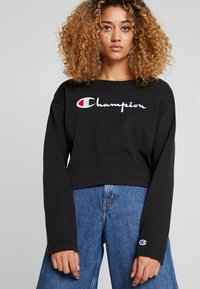 Champion Reverse Weave - BIG SCRIPT CROPPED - Top s dlouhým rukávem - black - 0