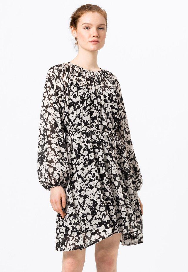 MIT STILISIERTEM BLUMENDRUCK - Korte jurk - schwarz