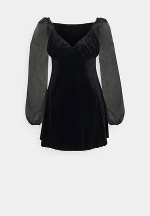 PUFF SLEEVE SKATER DRESS - Vestito estivo - black