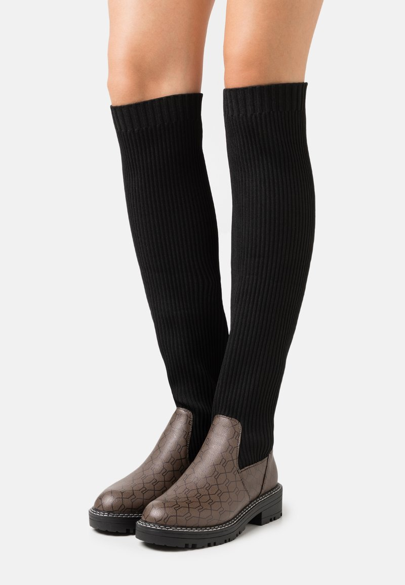 River Island Wide Fit - Over-the-knee boots - brown/black