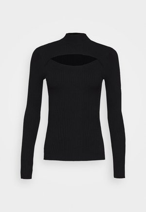 CUT OUT JUMPER - Strikkegenser - black
