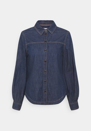 Button-down blouse - blue denim