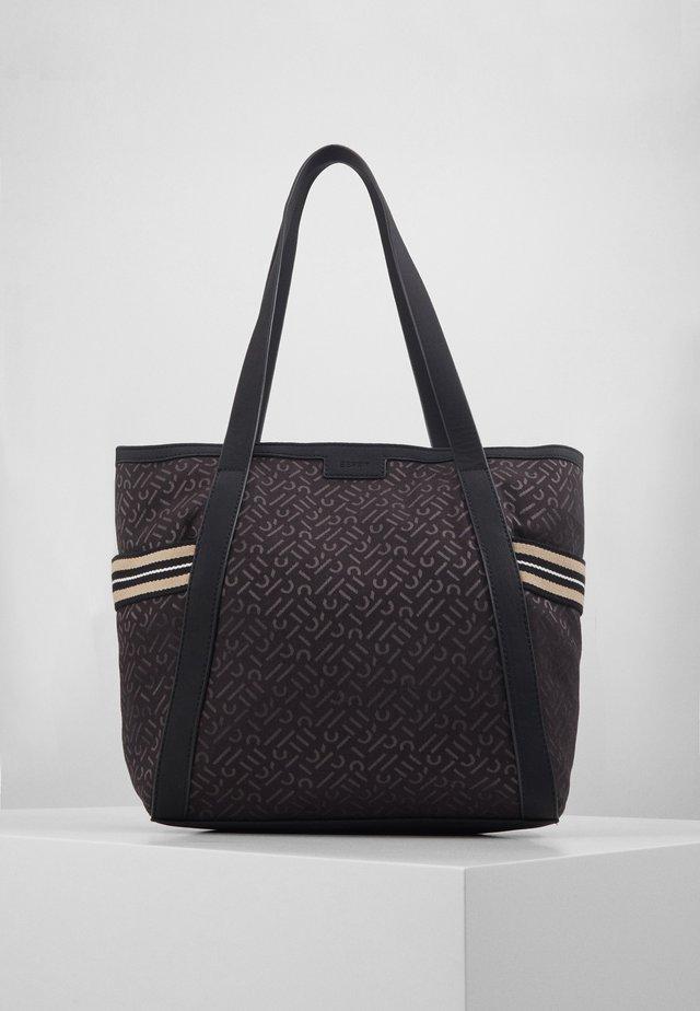 Tote-Bag mit Monogramm-Dessin, Material-Mix - Torebka - black