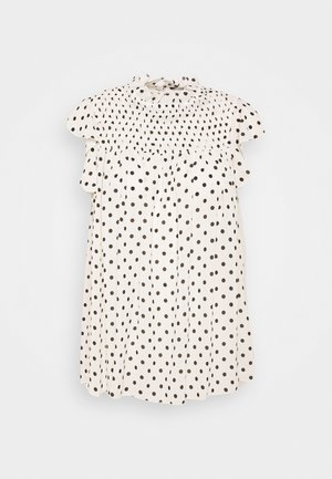 SPOT PRINT SHIRRED NECK - Blusa - white