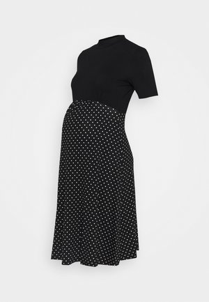 2 IN 1 SPOT DRESS - Jerseykjole - black