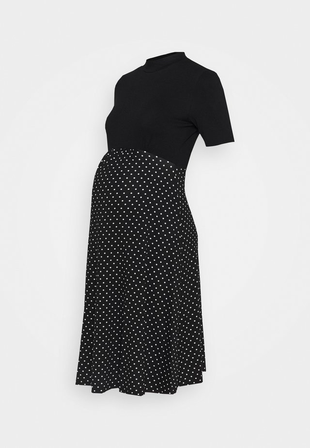 2 IN 1 SPOT DRESS - Jerseyjurk - black