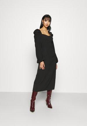 PUFF SHOULDER MIDI DRESS - Day dress - black