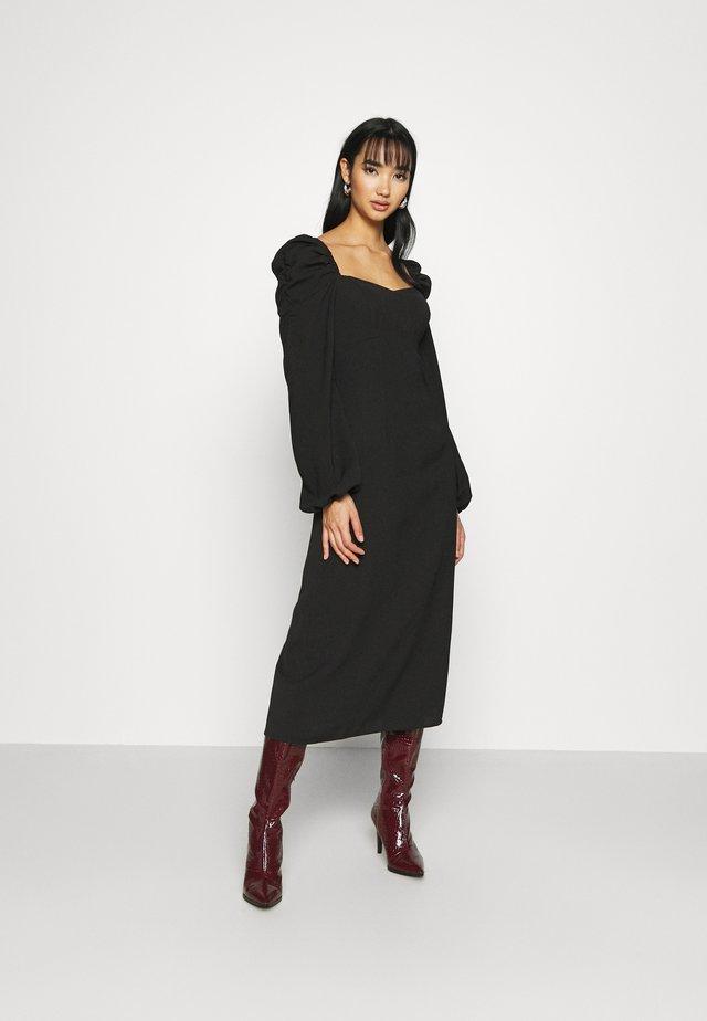 PUFF SHOULDER MIDI DRESS - Vestito estivo - black