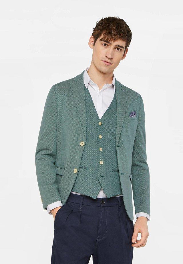 WE FASHION HERREN-SKINNY-FIT-SAKKO MIT MUSTER - Jakkesæt blazere - green