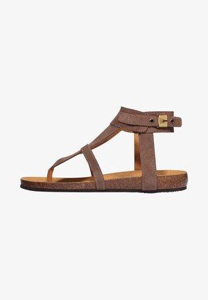BERRY  - T-bar sandals - hellbraun