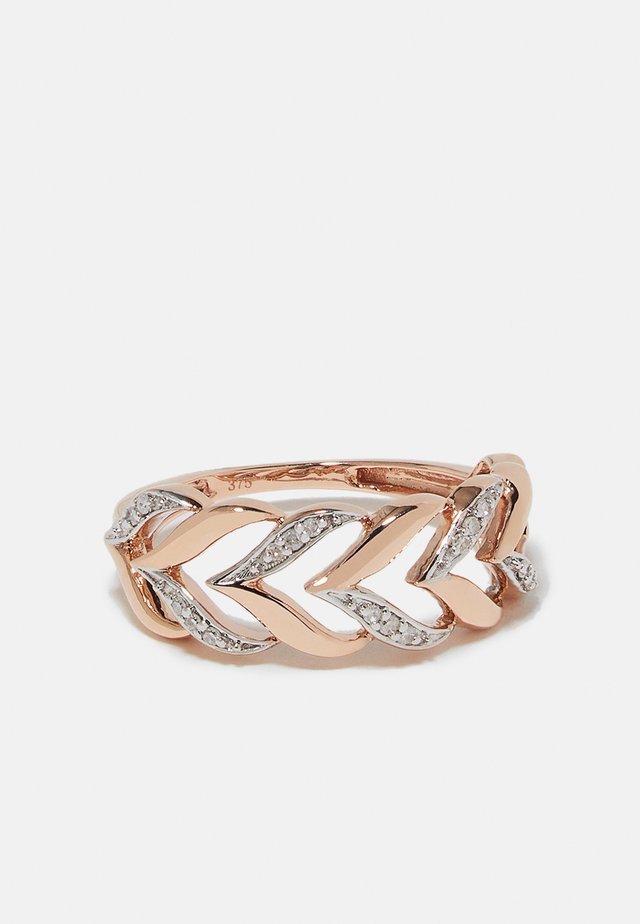 9KT ROSE GOLD 0.08CT CERTIFIED DIAMOND FASHION RING - Bague - rosegold-coloured