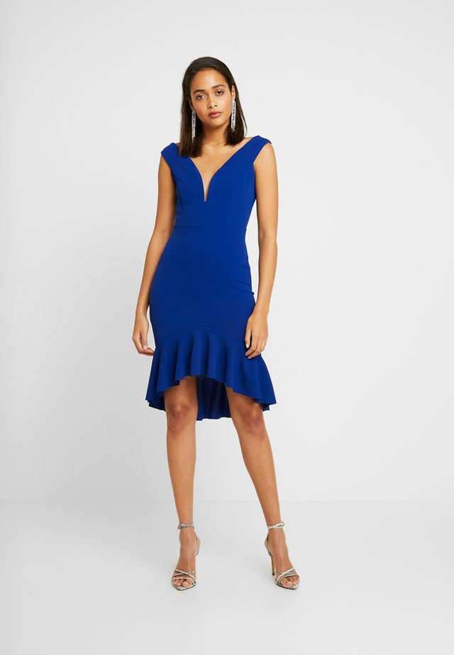 V SHAPE NECK LINE FILL SKIRT MIDI DRESS - Sukienka koktajlowa - cobalt blue