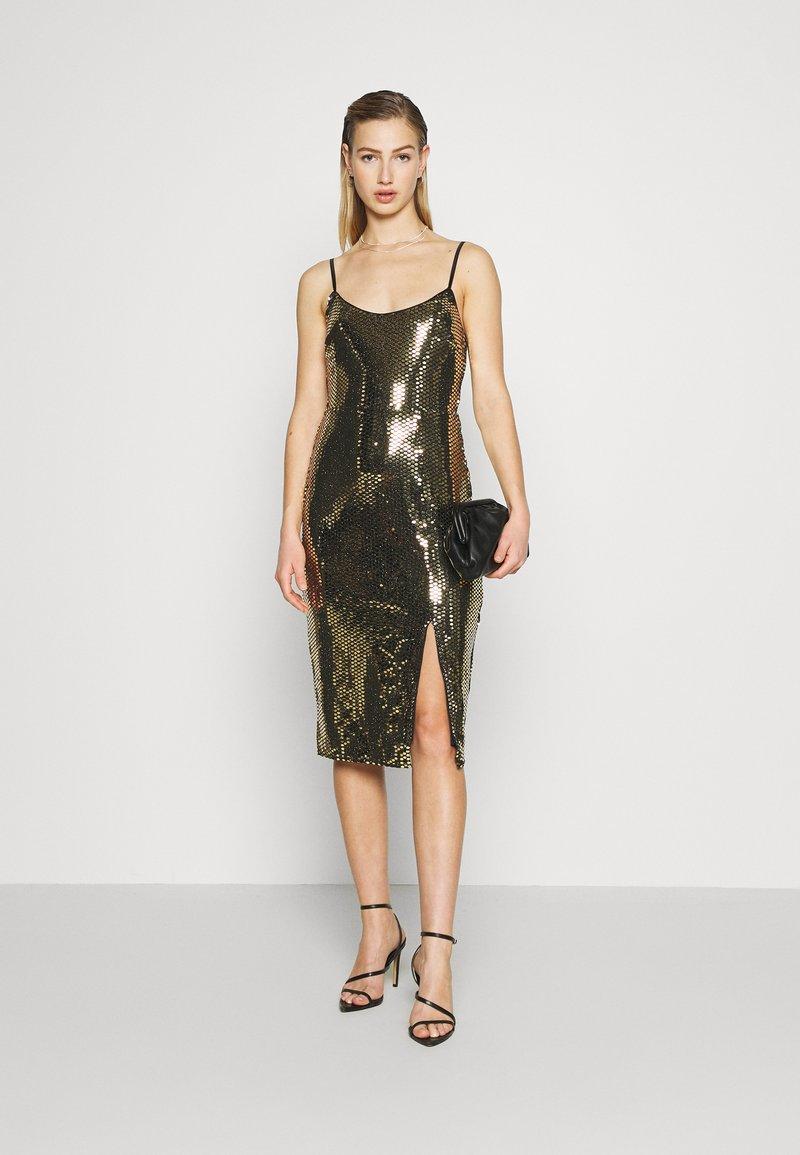 STRAPPY GOLD SEQUIN MIDI DRESS   Cocktailkleid/festliches Kleid   black