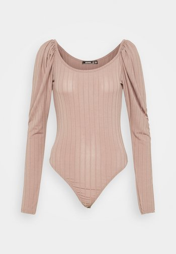 PUFF SLEEVE SCOOP NECK  - Long sleeved top - mauve