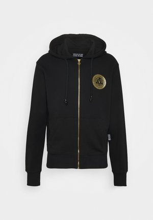 FULL ZIP HOODIE WITH LOGO - Huvtröja med dragkedja - nero