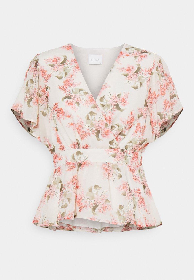 Vila - VIKATHRYN  - T-shirts med print - cloud dancer/flower