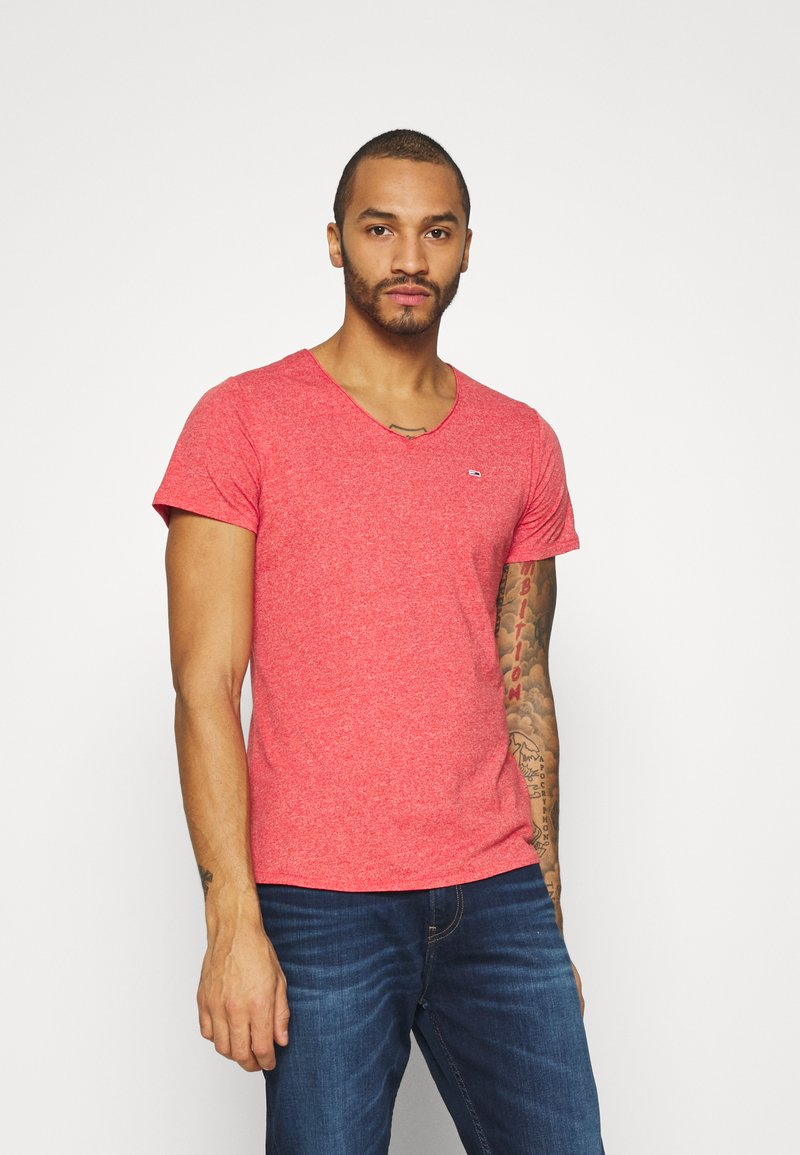 Tommy Jeans - SLIM JASPE V NECK - Basic T-shirt - deep crimson