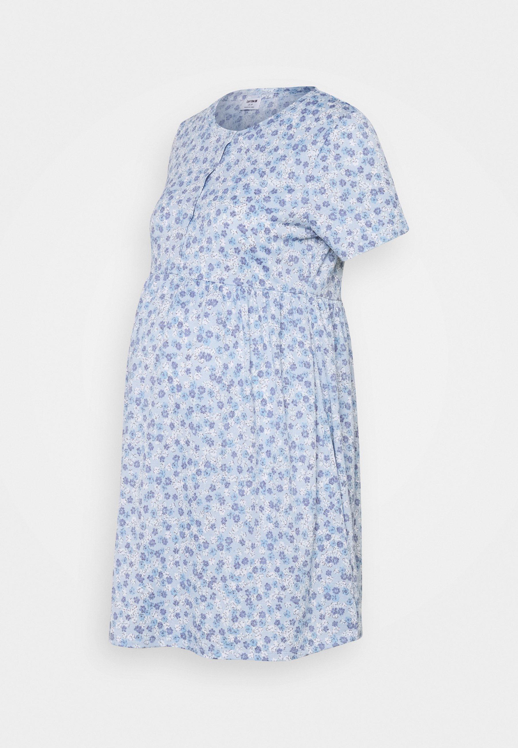 Women SHORT SLEEVE  BABYDOLL MINI DRESS MATERNITY - Jersey dress