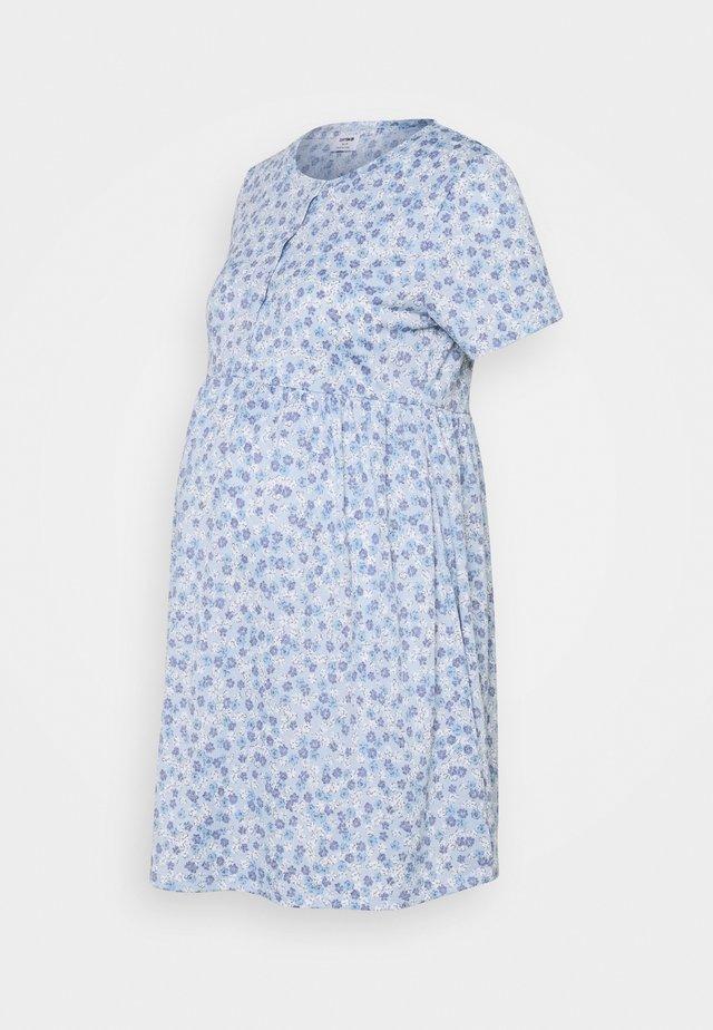 SHORT SLEEVE  BABYDOLL MINI DRESS MATERNITY - Sukienka z dżerseju - authentic blue