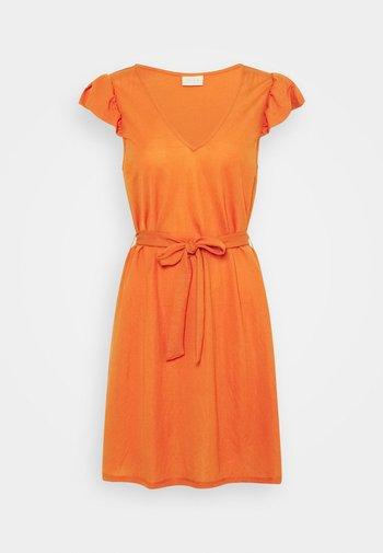 VIWANDERA V NECK SHORT DRESS - Jersey dress - burnt ochre