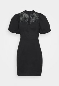 Glamorous - INSERT MINI DRESS WITH PUFF SHORT SLEEVES AND HIGH NECK - Cocktail dress / Party dress - black - 0