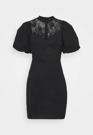 INSERT MINI DRESS WITH PUFF SHORT SLEEVES AND HIGH NECK - Sukienka koktajlowa - black