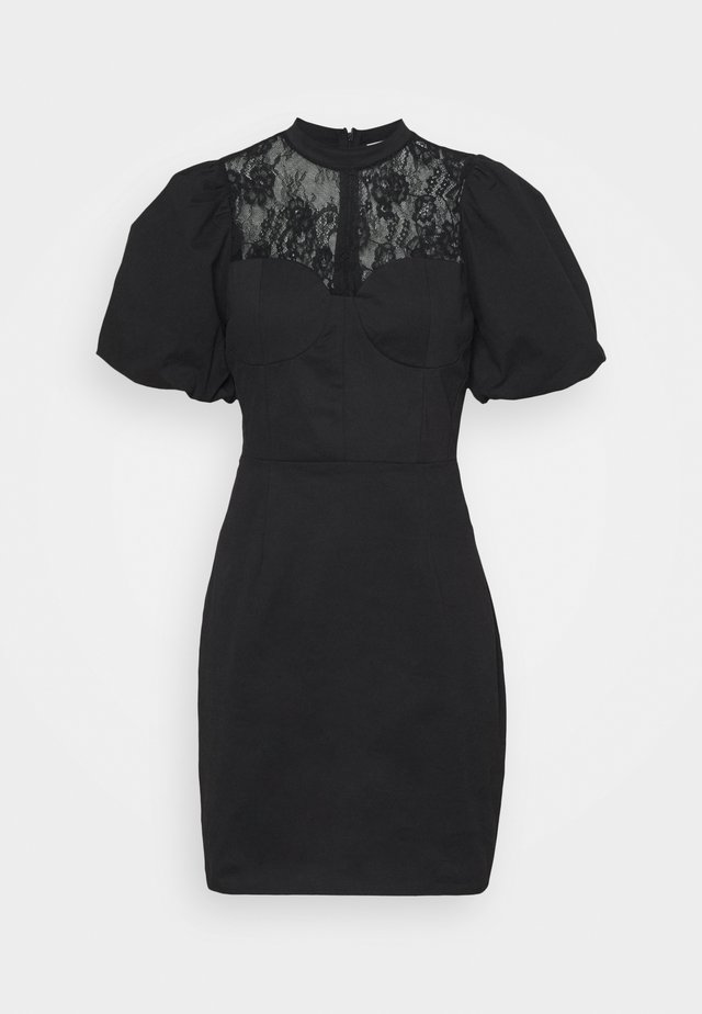 INSERT MINI DRESS WITH PUFF SHORT SLEEVES AND HIGH NECK - Juhlamekko - black