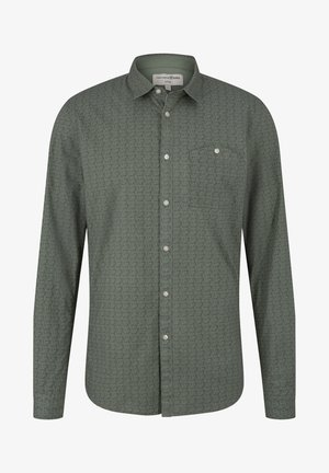 Shirt - green grid triangle print