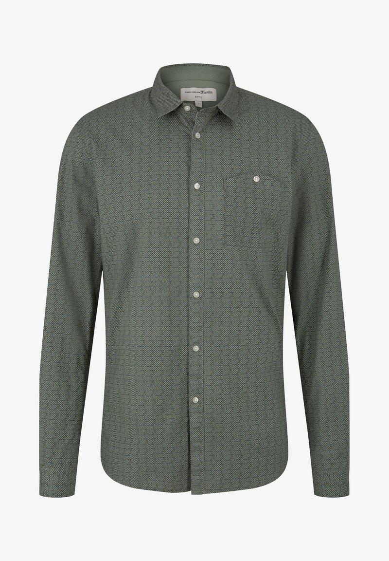 TOM TAILOR DENIM - Shirt - green grid triangle print