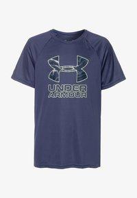 Under Armour - TECH HYBRID LOGO UNISEX - Print T-shirt - blue ink/x-ray - 0