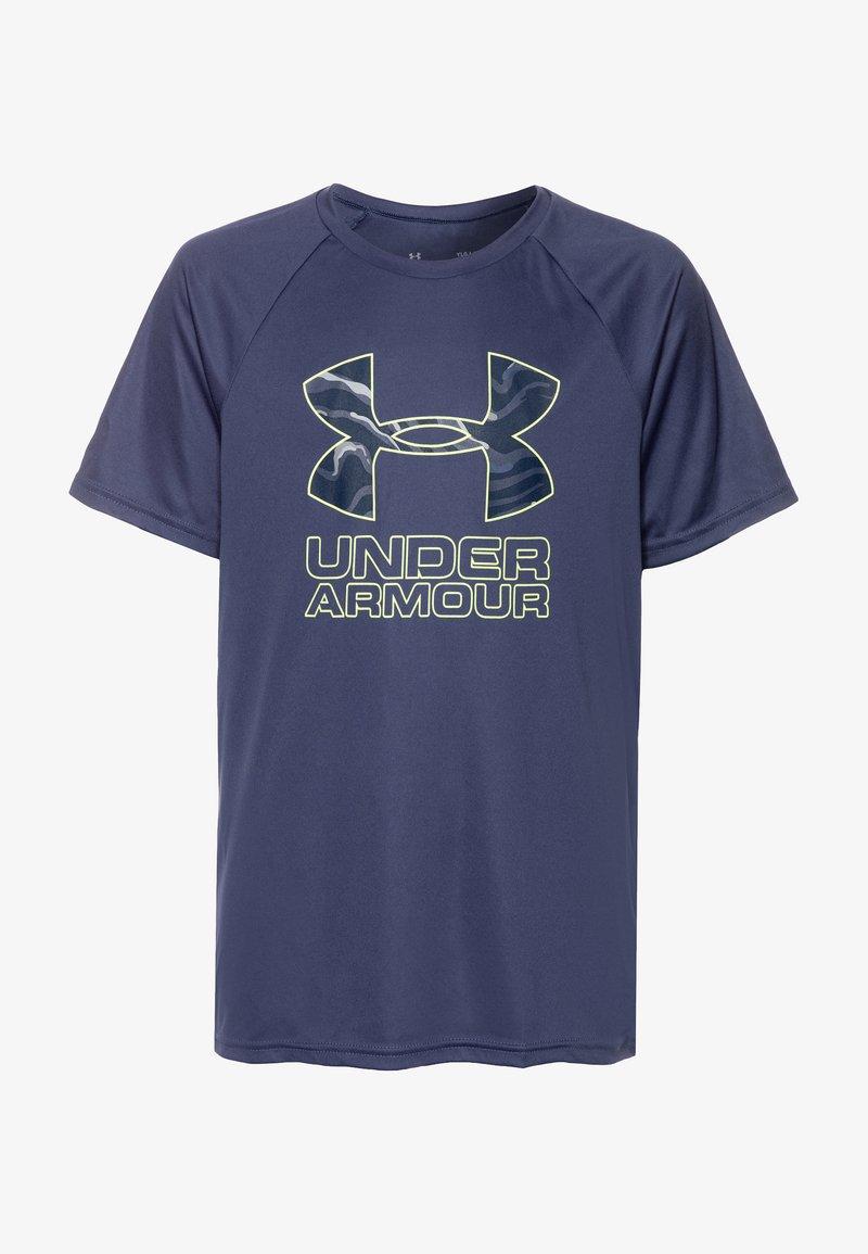 Under Armour - TECH HYBRID LOGO UNISEX - Print T-shirt - blue ink/x-ray