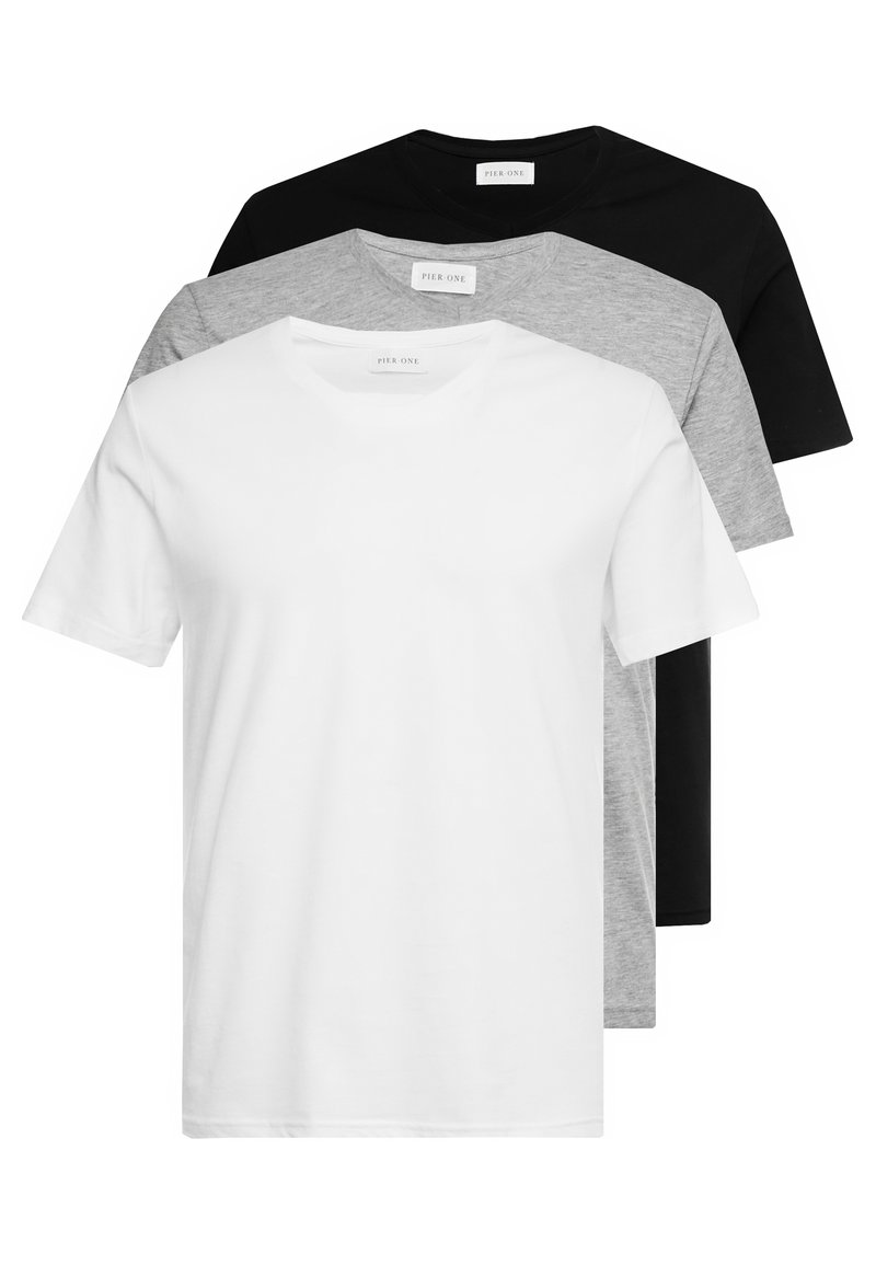 Pier One - 3 PACK  - T-shirts basic - white/black/light grey