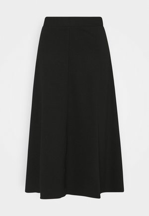 SKIRT WITH TOPSTITCHING DETAIL - A-line skirt - deep black