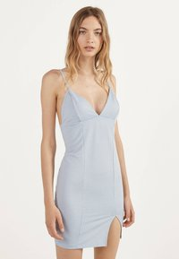 Bershka - MIT VICHYKAROS  - Day dress - light blue - 0