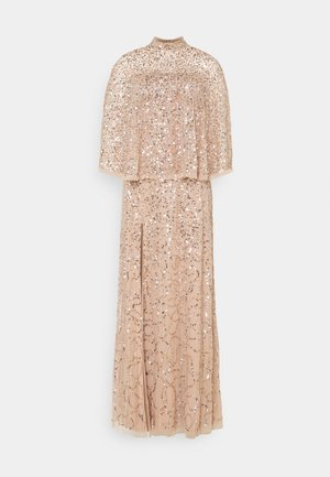 DELICATE SEQUIN DRESS WITH DETACHABLE CAPE - Abito da sera - taupe blush
