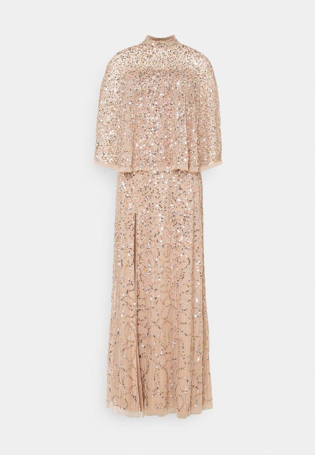 DELICATE SEQUIN DRESS WITH DETACHABLE CAPE - Gallakjole - taupe blush