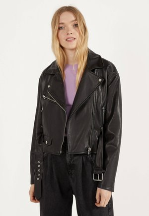 BIKERJACKE AUS KUNSTLEDER 01139644 - Faux leather jacket - black