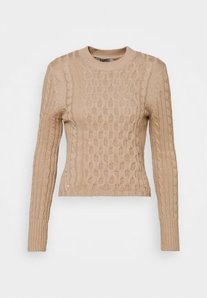 CABLE ROUND NECK SWEATER - Jumper - light beige