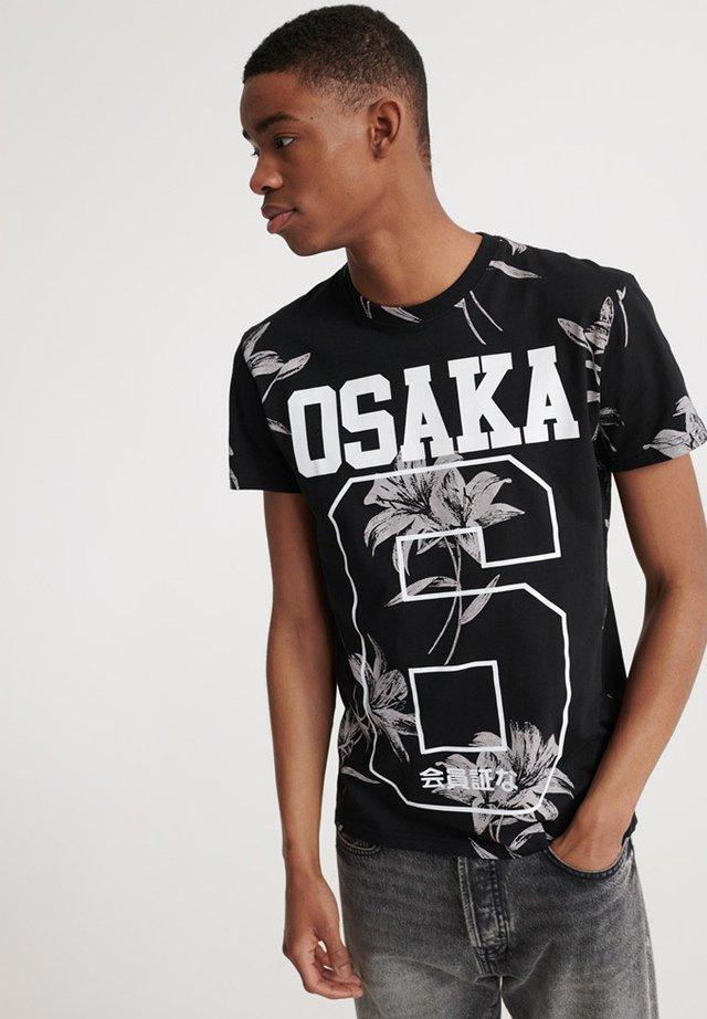 Print T-shirt - venice flower black