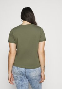 Pieces Curve - PCRIA FOLD UP SOLID TEE - Jednoduché triko - deep lichen green - 2